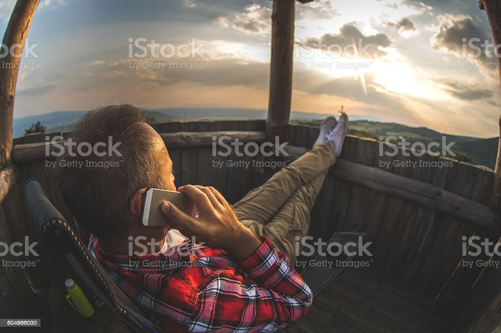 Making a call in the nature stock photo