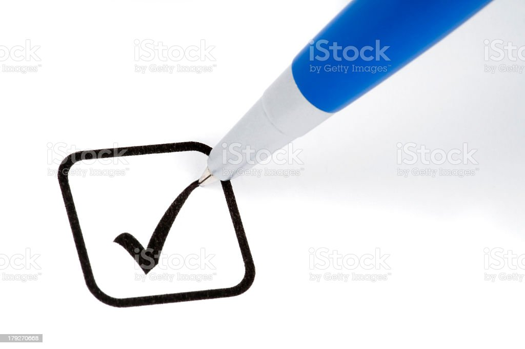 Making a check mark in the box royalty-free stock photo