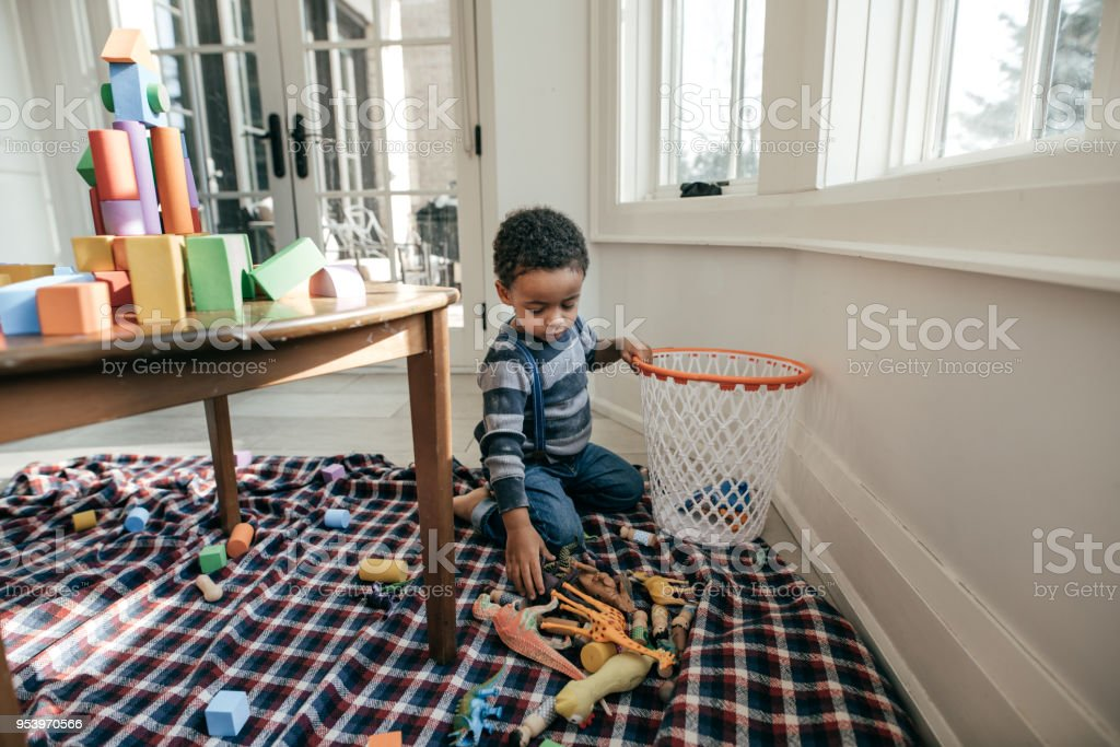 Making a child responsible. stock photo