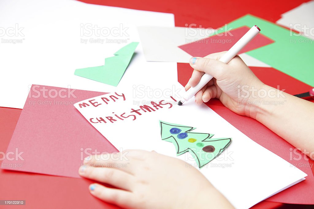 Making A Christmas Card Stock Photo & More Pictures of 4-5 Years ...