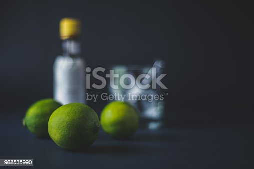 A still life of cocktail ingredients on a black background.