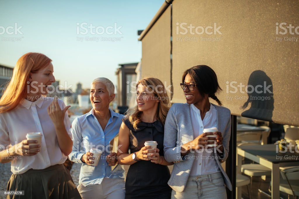 Making a coffee break stock photo