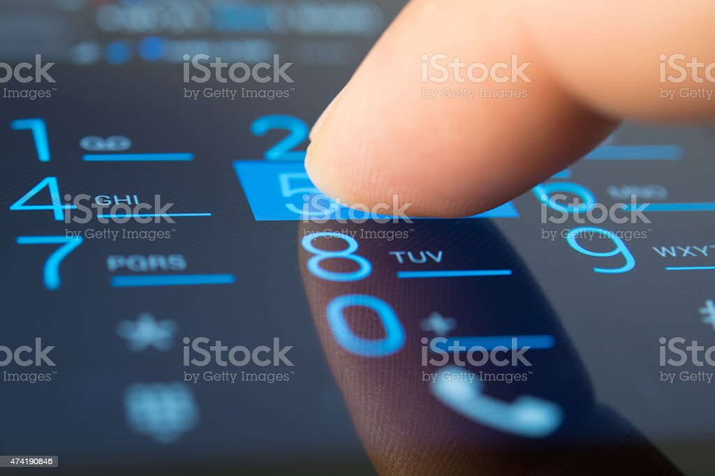 Making a dial on a smartphone stock photo