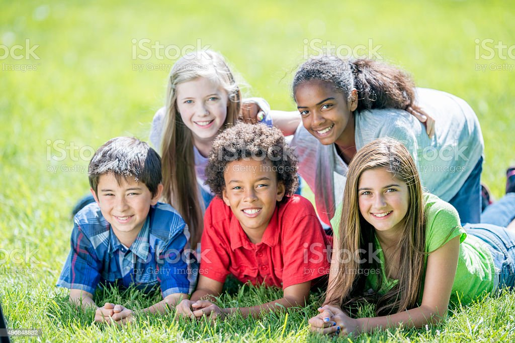 Making a Dog Pile at the Park stock photo