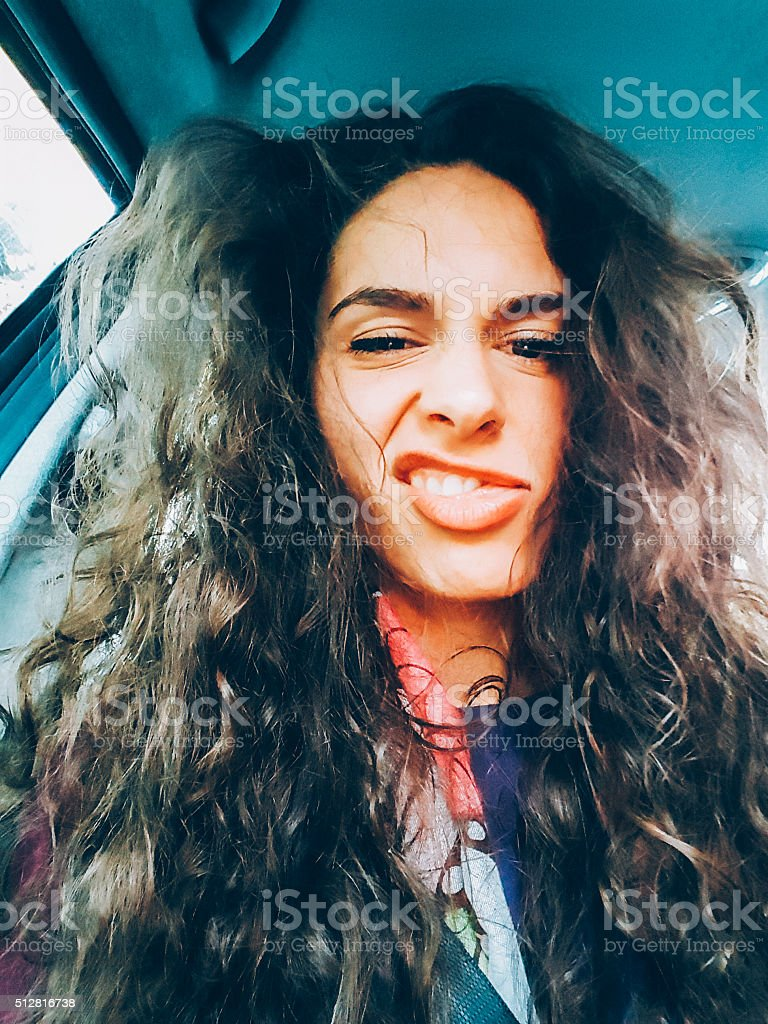 Making a funny face stock photo