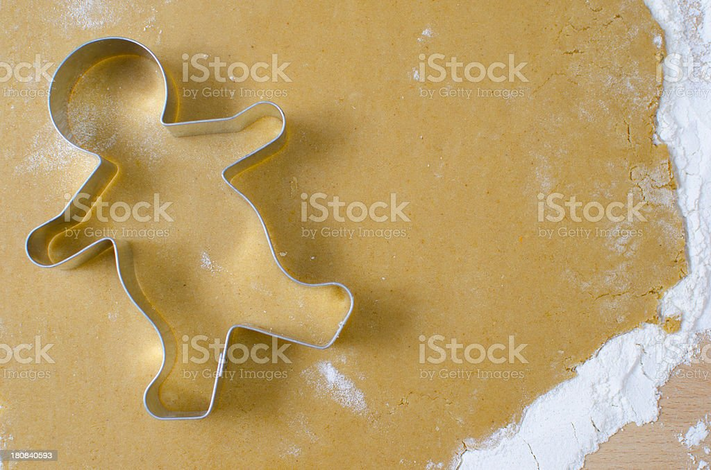 Making a gingerbread man stock photo