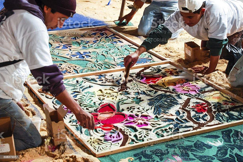 Making a Holy Week carpet, Antigua, Guatemala stock photo