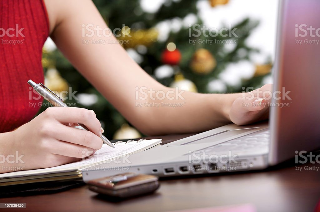 Making a list for Christmas royalty-free stock photo