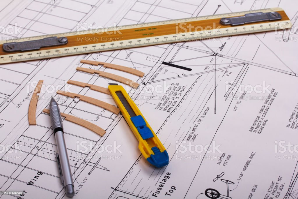 Making a model airplane from balsa wood stock photo