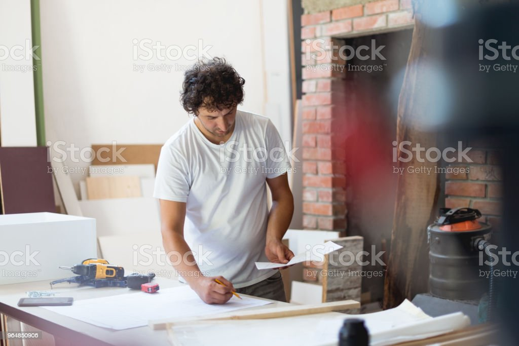 Making a new design for furniture royalty-free stock photo