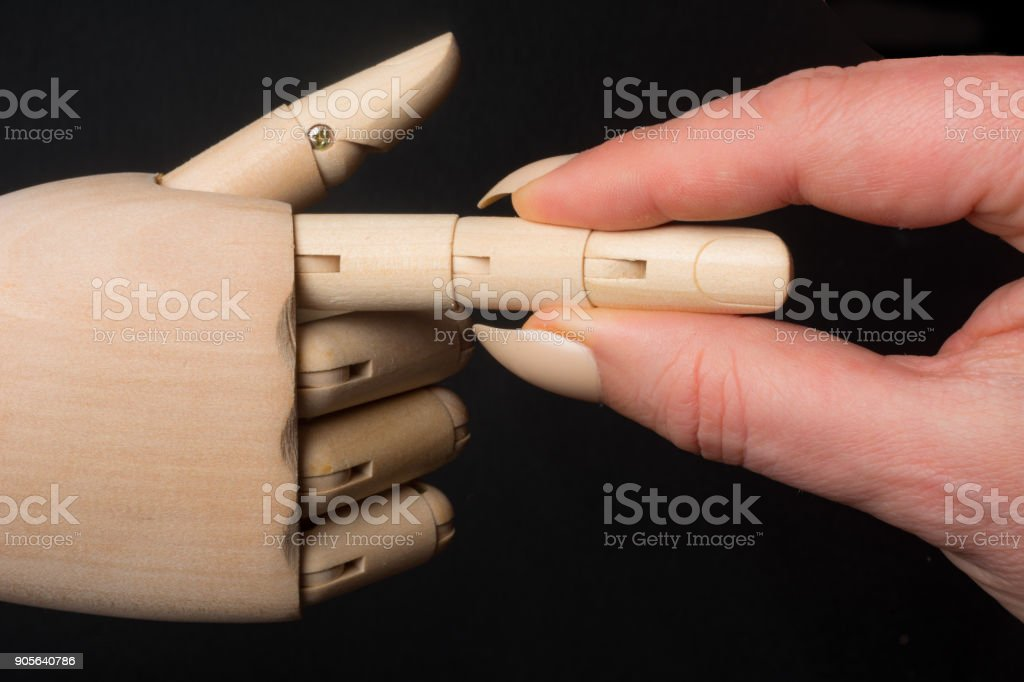 Making a point ing finger on a mannequin hand stock photo