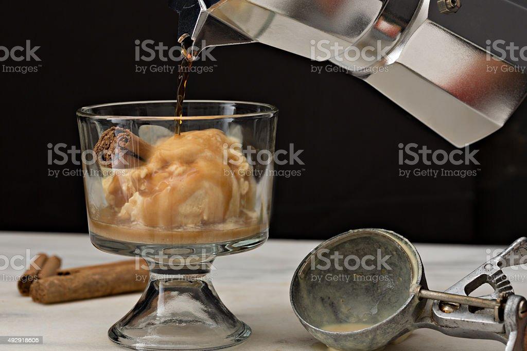 Making A Pumpkin Affogato stock photo
