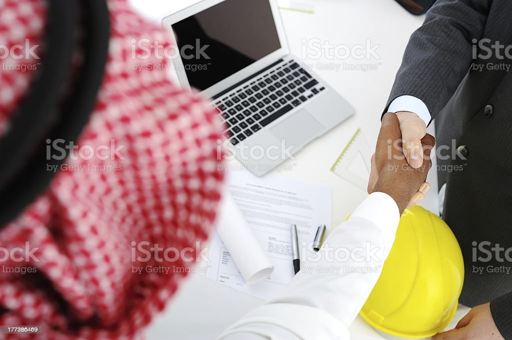 Making a successful deal for building at Middle eastern royalty-free stock photo