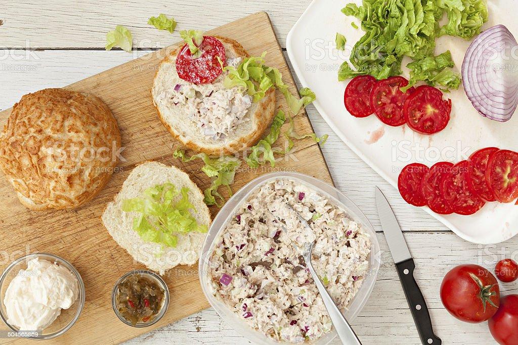 Making A Tuna Sandwich stock photo