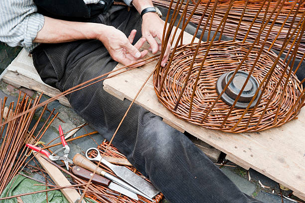 Making a wicker basket stock photo