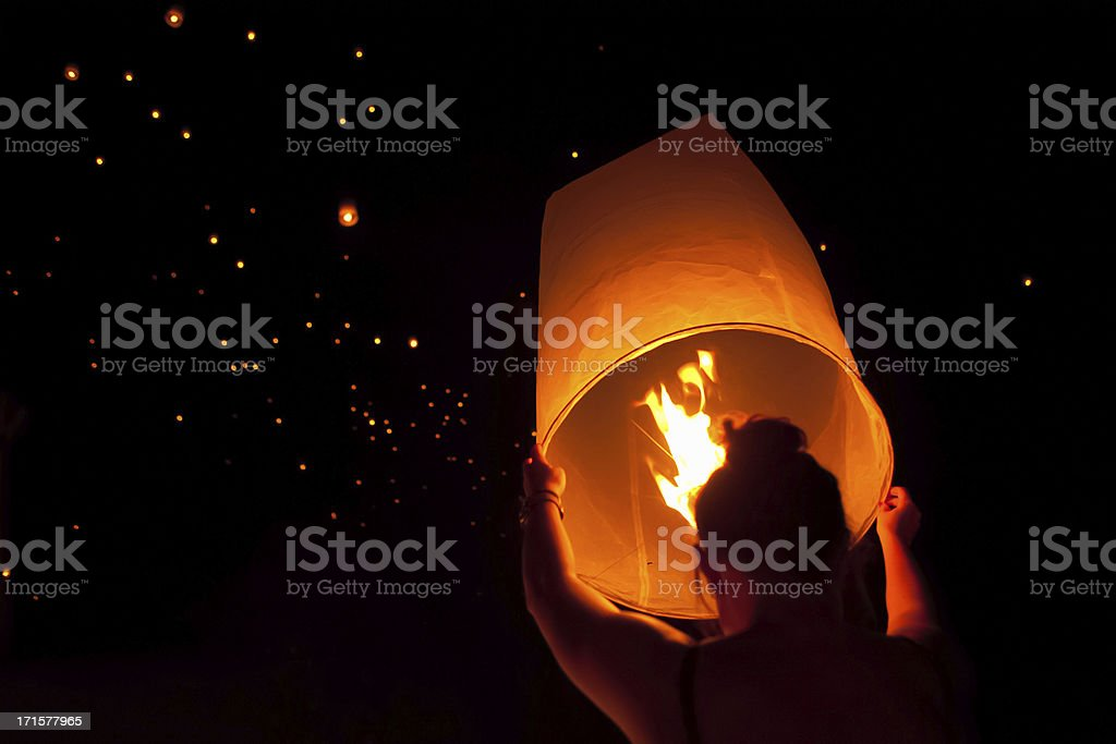 Making a Wish at Loi Krathong Festival in Chiang Mai stock photo