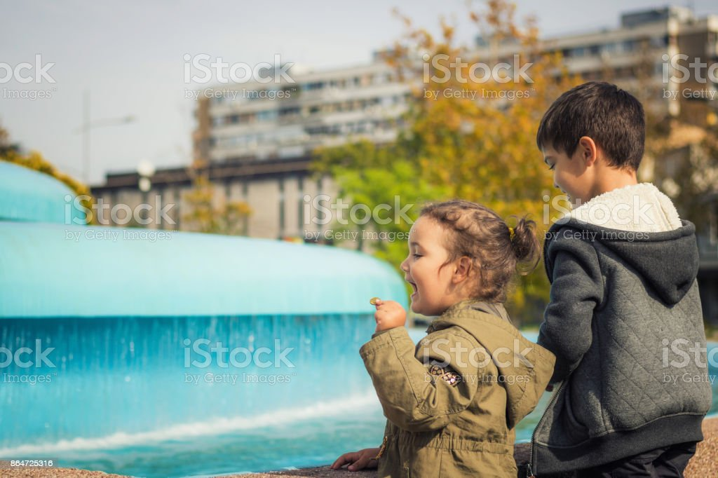 Making a wish by the fountain. stock photo