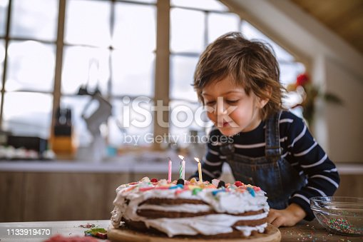 Cute Boy Blowing Birthday Candles at Home