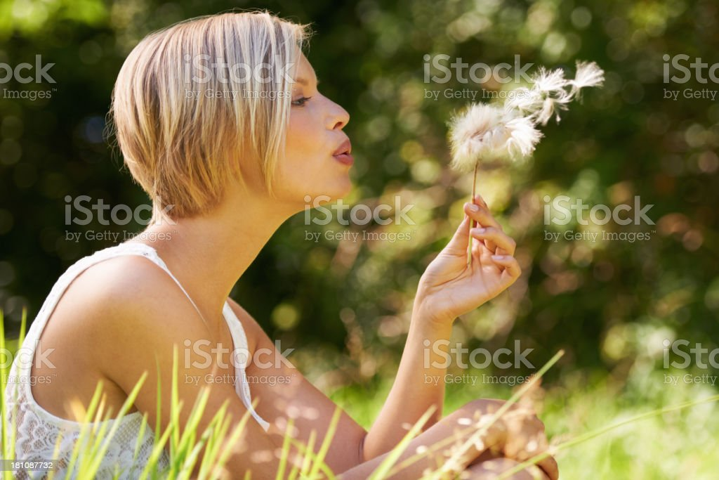 Making a wish royalty-free stock photo