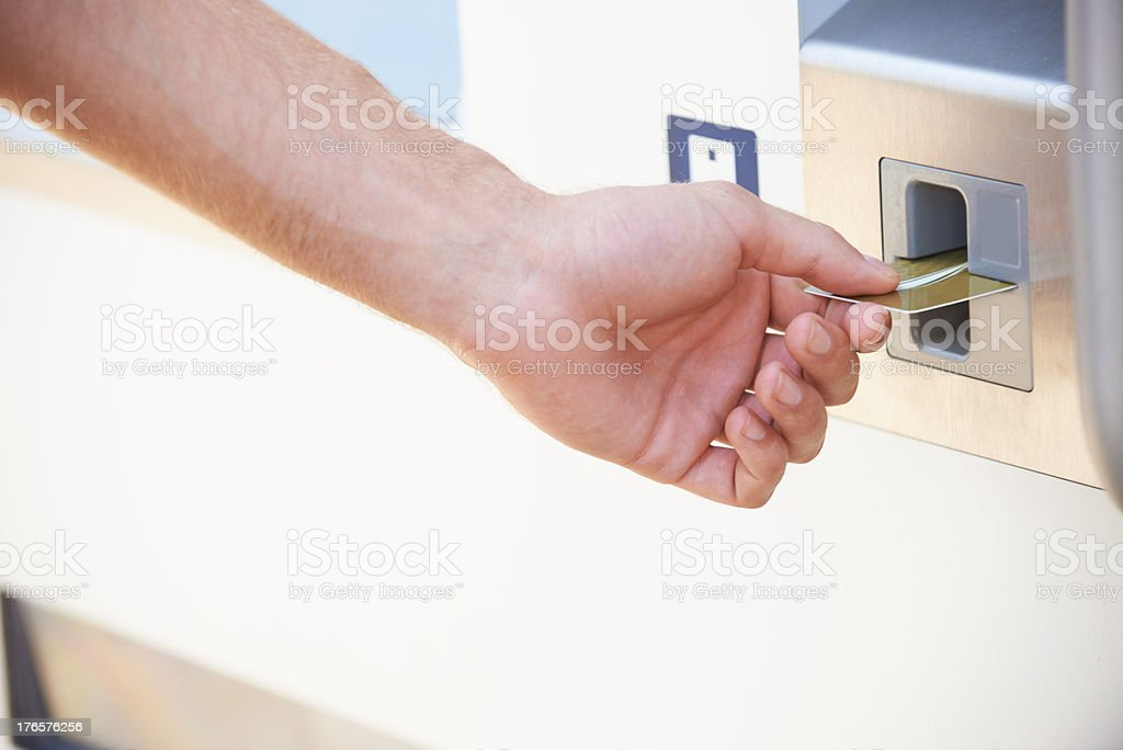 Making a withdrawal at the ATM royalty-free stock photo