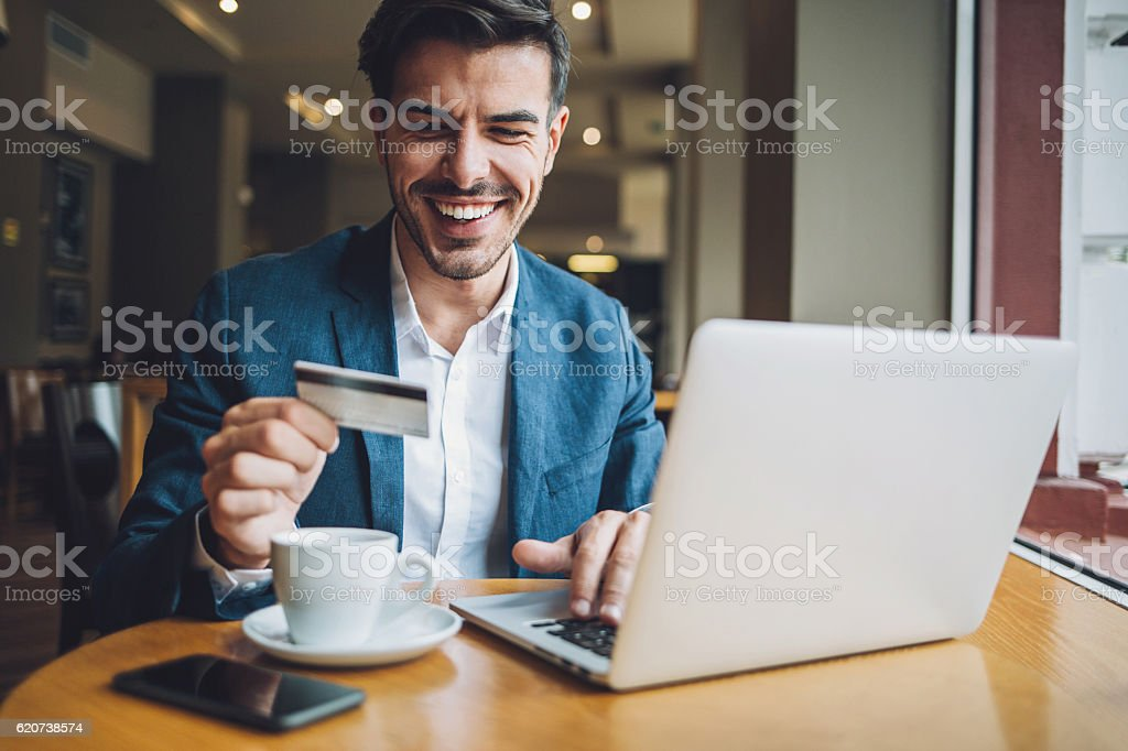 Making an on-line payment stock photo
