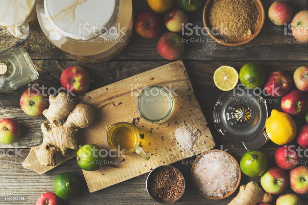 Making apple cider vinegar salad dressing stock photo