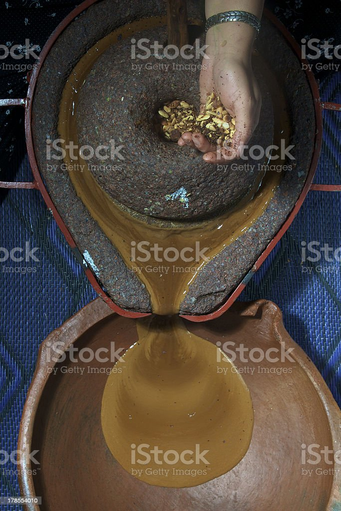 making argan oil stock photo