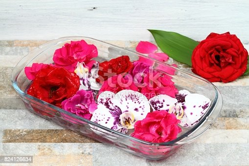 istock Making Bach flower remedy from beautiful roses and orchids 824126634