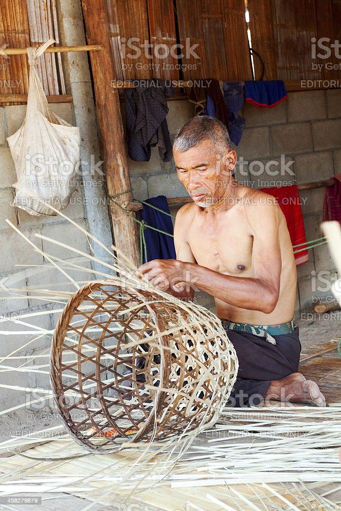 Making bamboo basket royalty-free stock photo