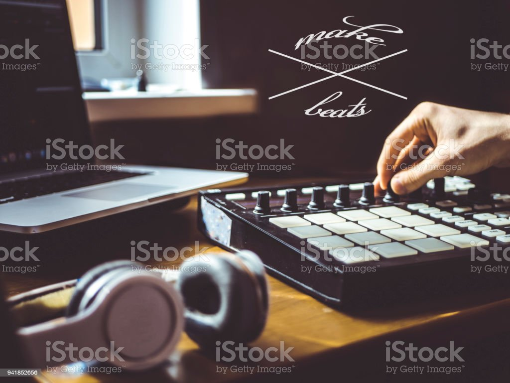 making beats text copyspace music design stock photo
