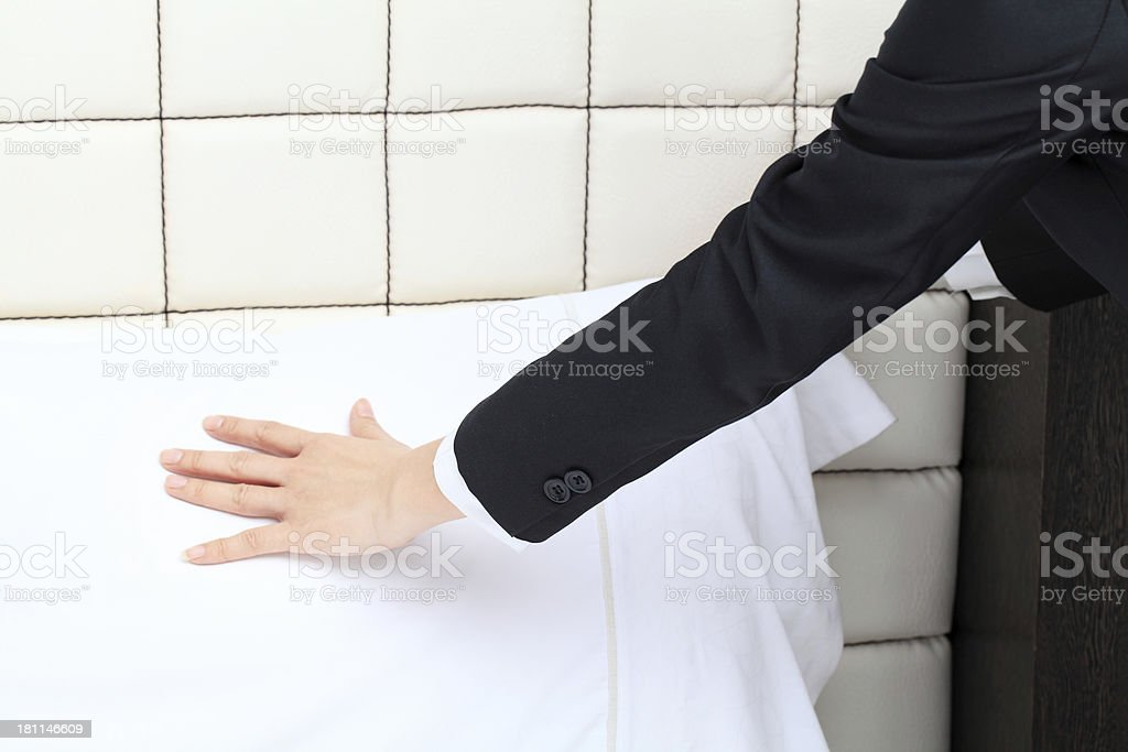 Making Bed royalty-free stock photo