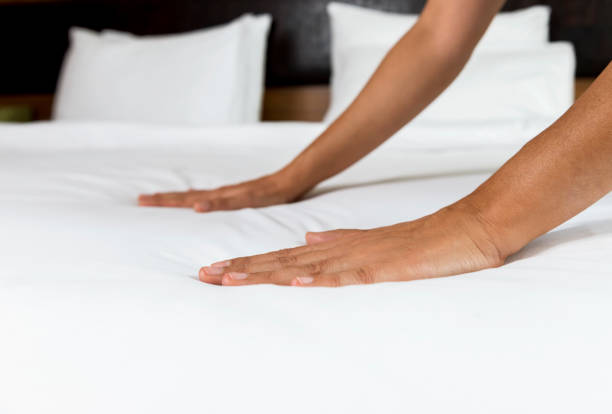 Making Bed stock photo