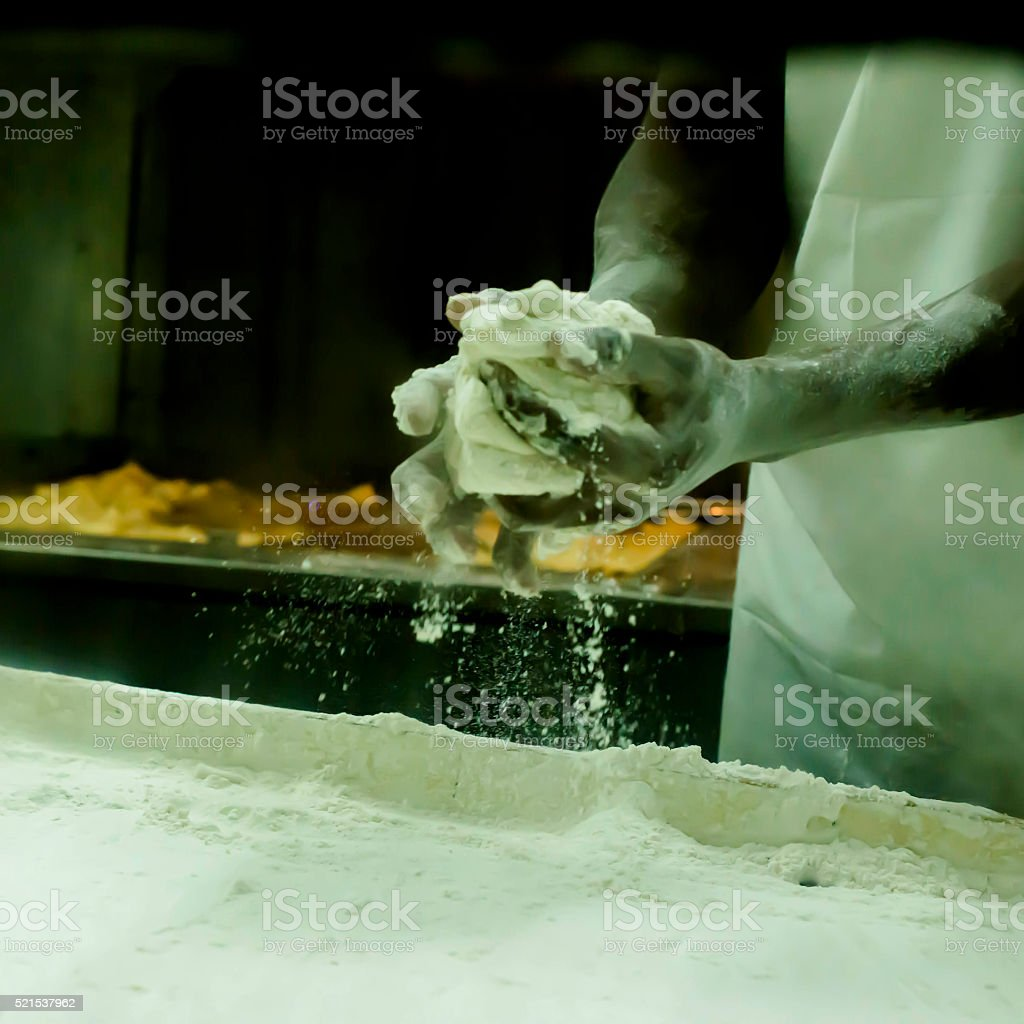 Making beignets in New Orleans stock photo