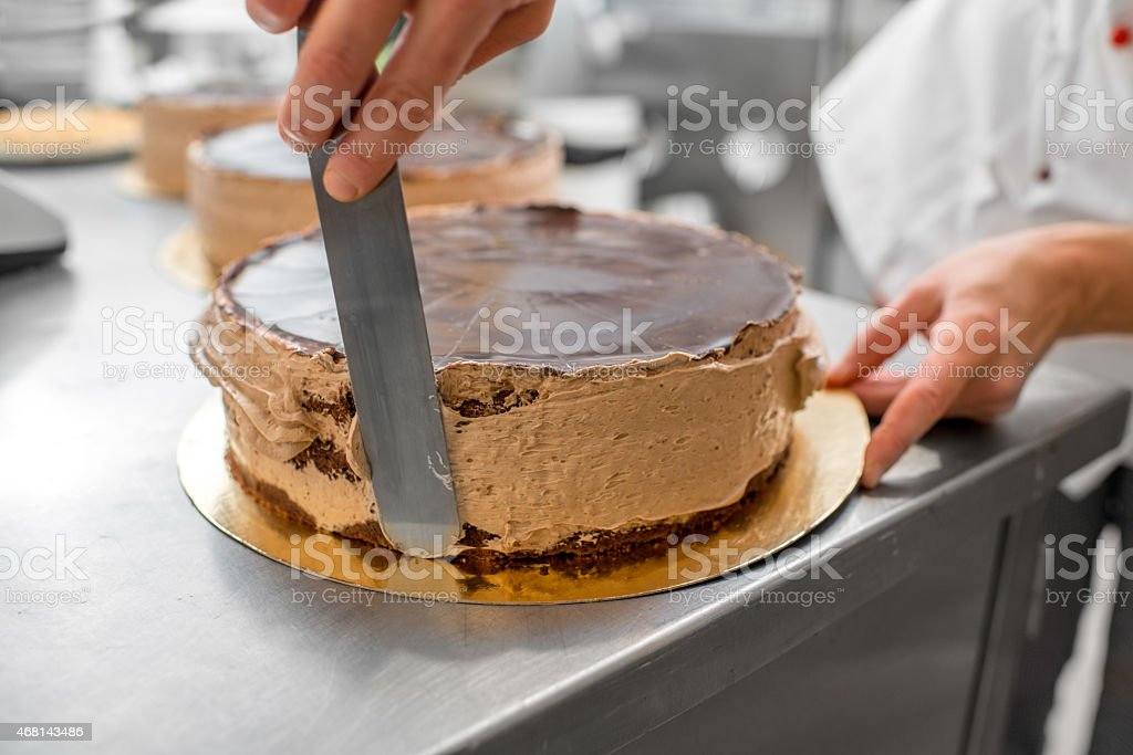 Making biscuit cake stock photo