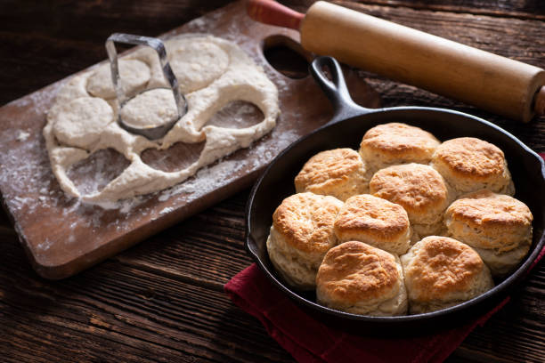 Making Biscuits Making Fresh Buttermilk Biscuits biscuit stock pictures, royalty-free photos & images