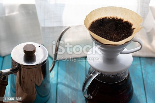 making black coffee with filter paper