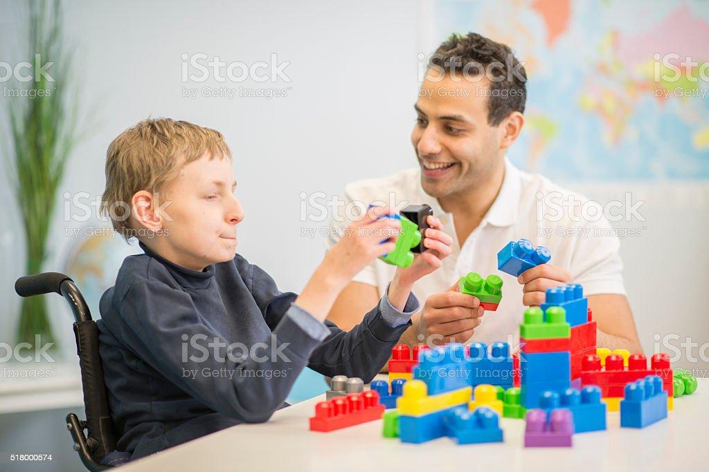 Making Block Towers stock photo