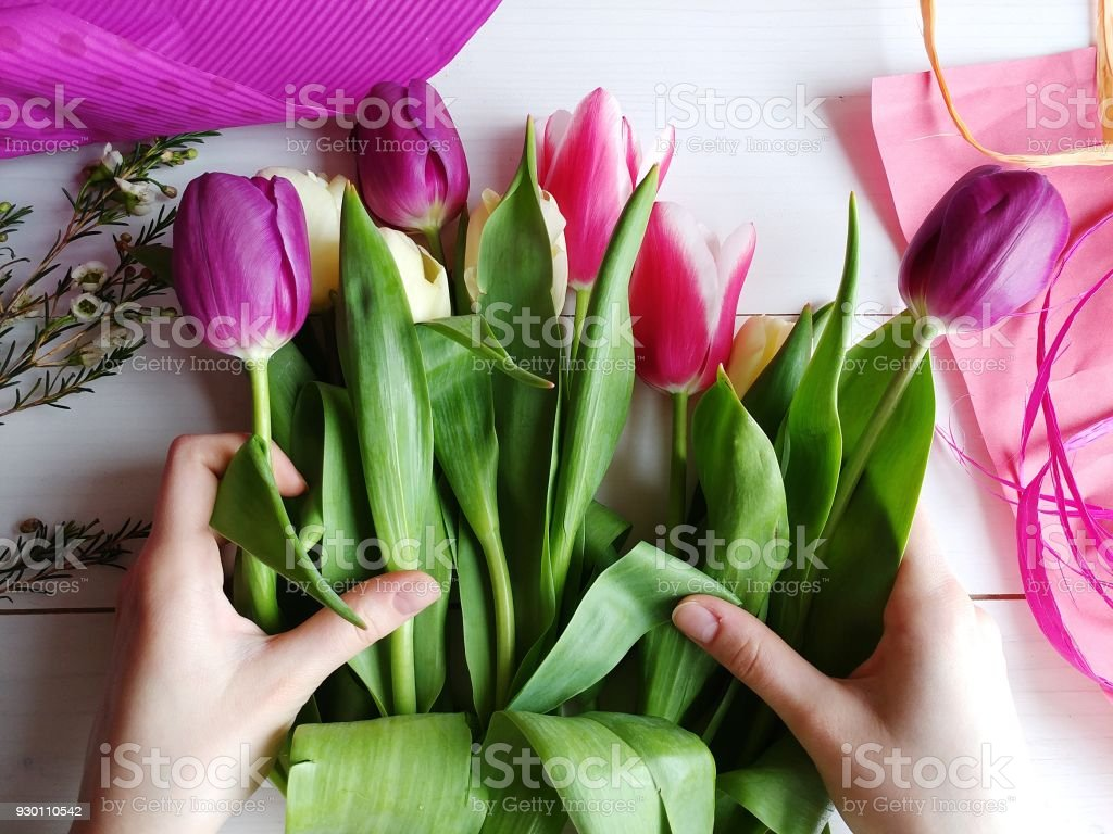Making bouquet of tulips florist small business stock photo more making bouquet of tulips florist small business royalty free stock photo izmirmasajfo