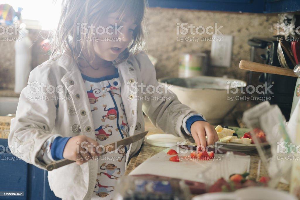 Ontbijt maken - Royalty-free 4-5 jaar Stockfoto