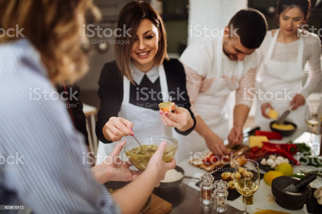 Making bruschetta at a cooking class stock photo