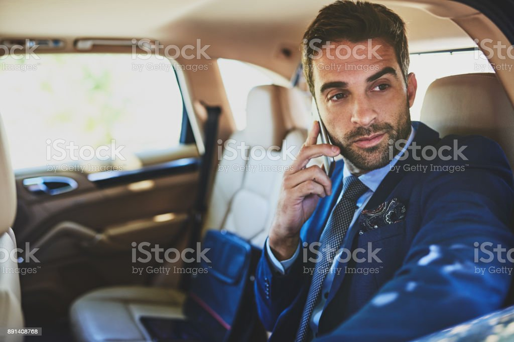 Making business calls on the go stock photo