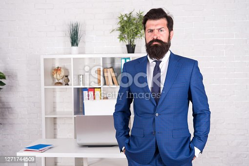 Making career. Boss in office. Man beaded hipster launched startup project. Company owner. Ceo concept. Office worker formal suit. Modern business. Business consulting services. Developing business.