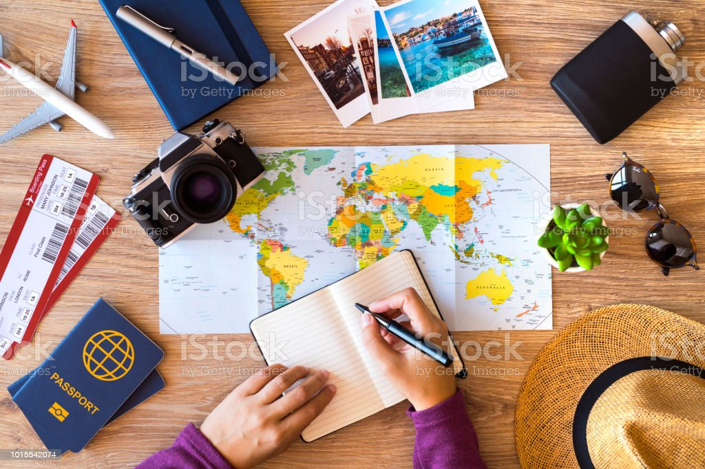 Making check list for travel royalty-free stock photo