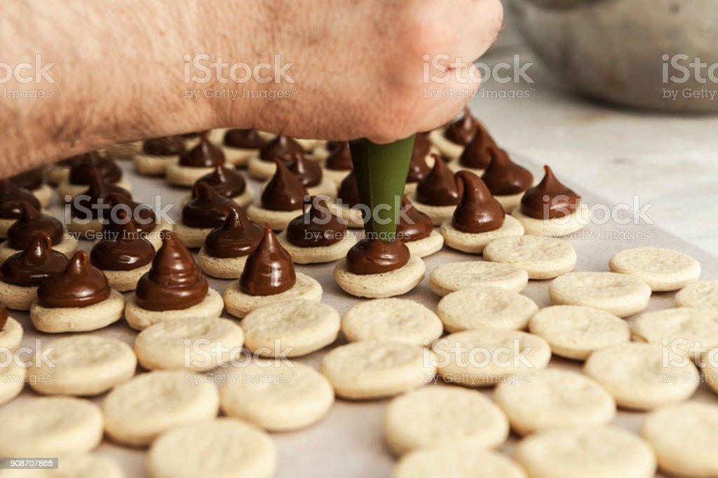 Making Chocolate Cake stock photo