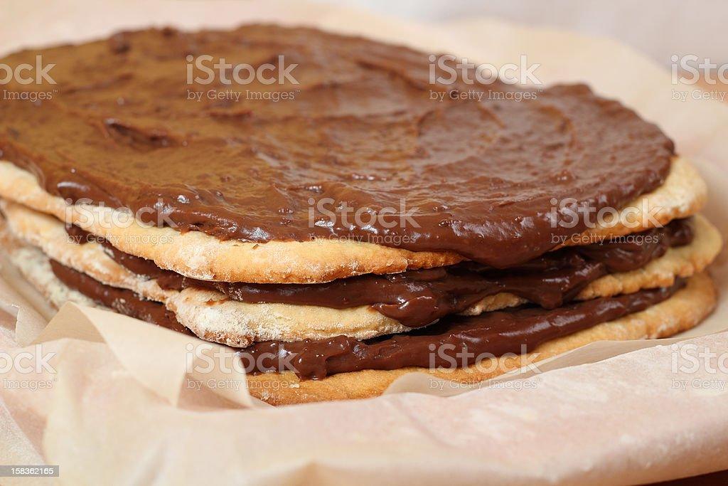 Making Chocolate Layer Cake royalty-free stock photo