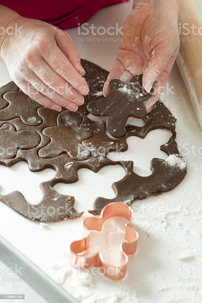 Making Christmas Gingerbread Man Cookie Dough Close-up royalty-free stock photo