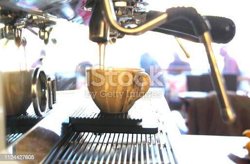 close up of professional coffee mashine