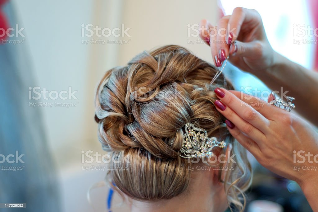 Making coiffure stock photo