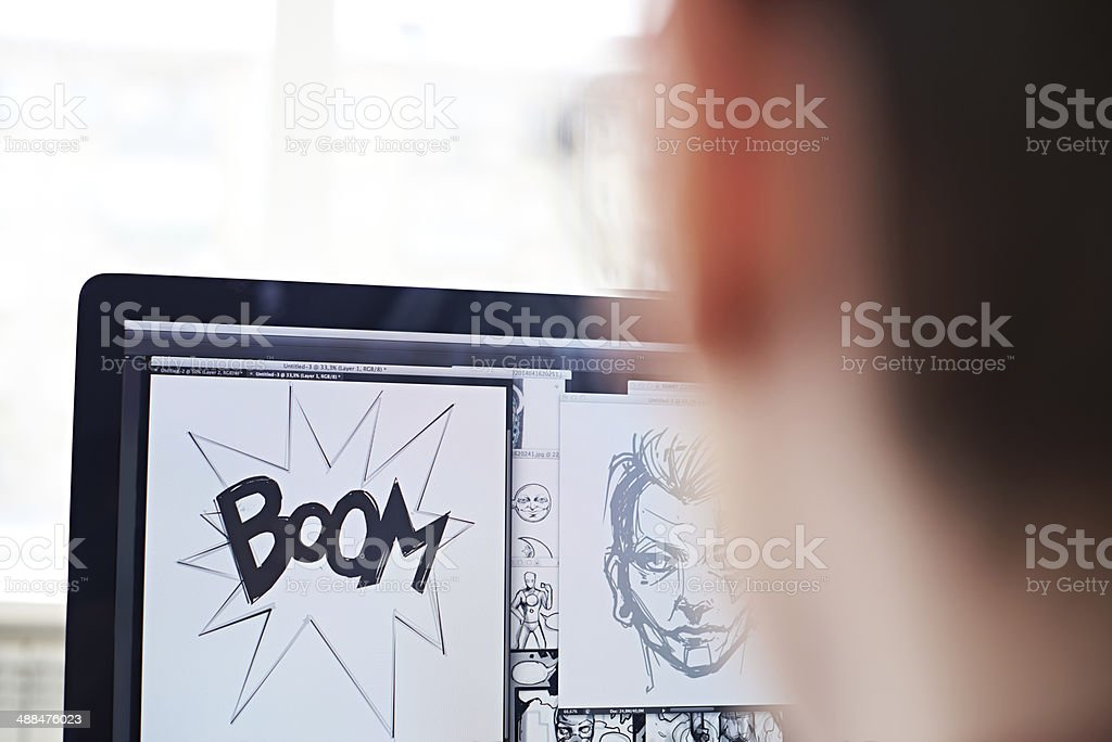 Making comic book stock photo