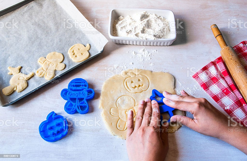 Making cookies for Halloween and Thanksgiving stock photo